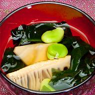若竹汁の空豆添え